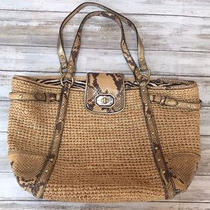 Coach Bags - 🍂🌺Straw and snakeskin NWT Coach Shoulder Bag
